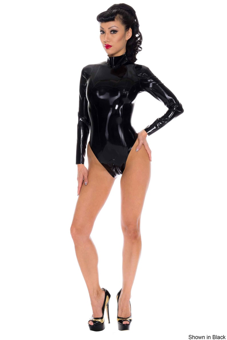 Westward Bound. Madame Belle Latex Rubber Leotard with a high neck and a two-way zipper from the back of the neck through to the crotch