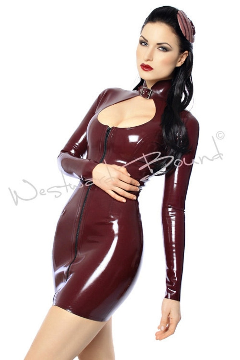 Rubber Buckle Front Bound Zip Westward Neck Latex Dress R527 qSpVUzMG