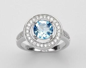 Handmade Natural Gemstone Jewelry, Genuine Sky Blue Sterling Silver Ring  FD5C0277 RIS6-SBT683