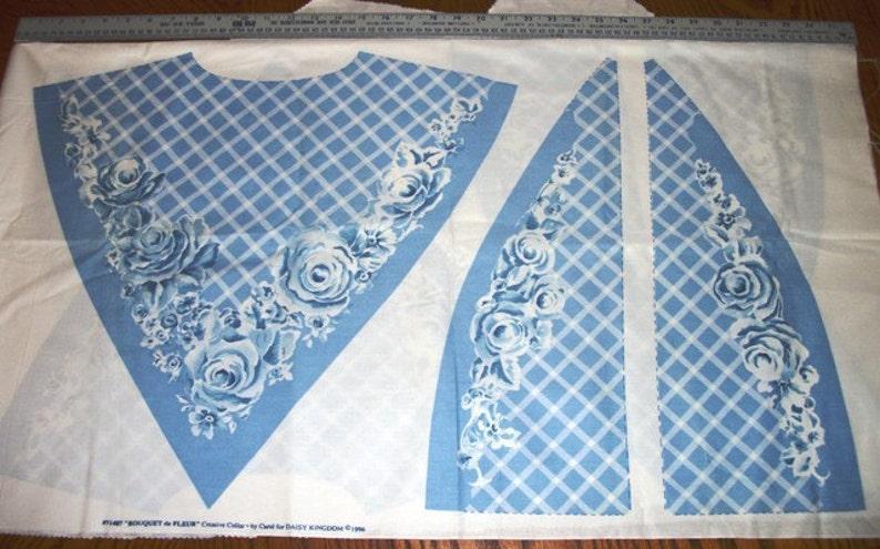 BOUQUET de FLEUR Three Cotton Fabric Creative Cloth Collars in Soft Blues and White Print