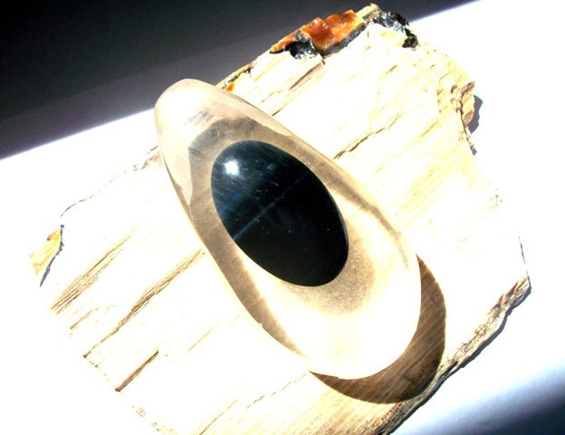 NATURAL Blue Tigers Eye in an Oval Cabochon FUN Jewelry Making Supply Gemstone Stone