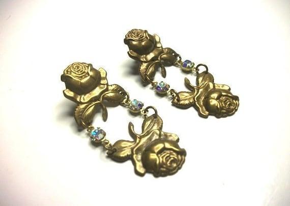 Brass roses crystal rhinestones chandelier earring