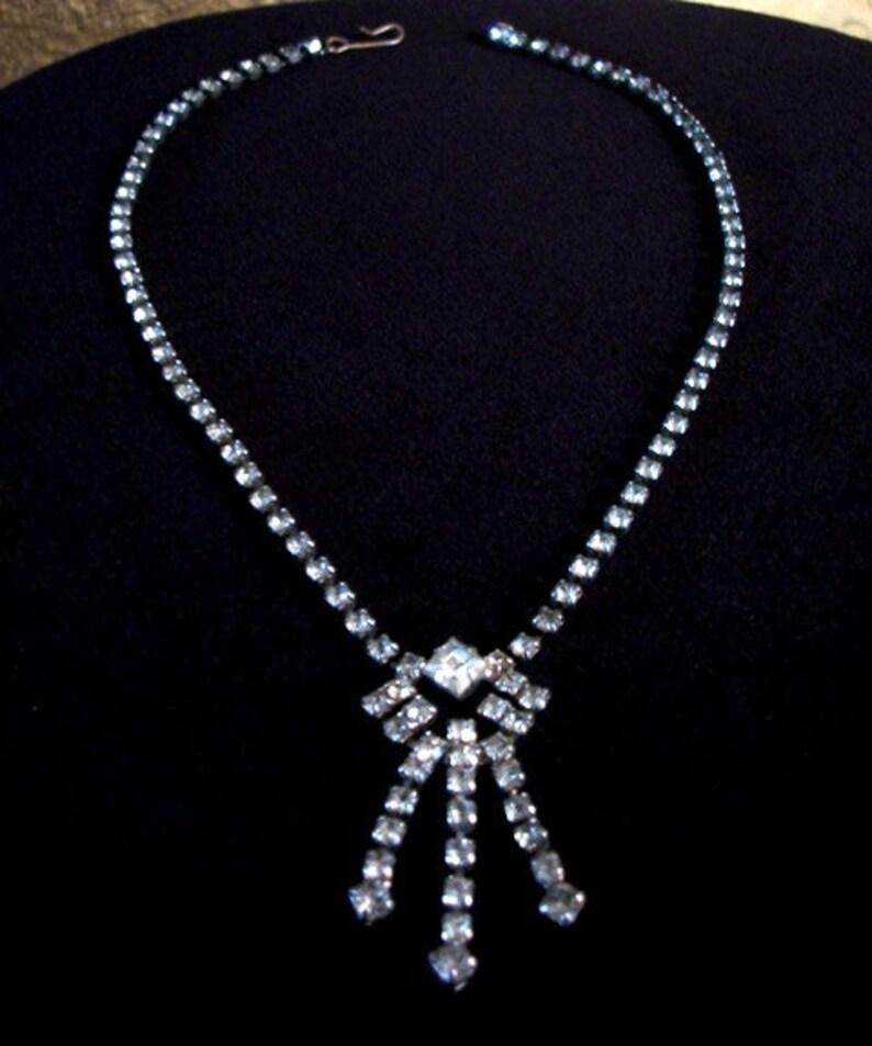 Rhinestone Tassel Necklace Lovely Vintage Jewelry Gift Ideas for Women
