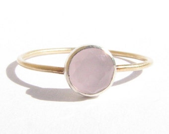 Rose Quartz - 14k Solid Gold and Silver Ring -  Stacking Ring - Rose Cut Ring - Thin Gold & Silver Ring - Pink Ring - MADE TO ORDER.