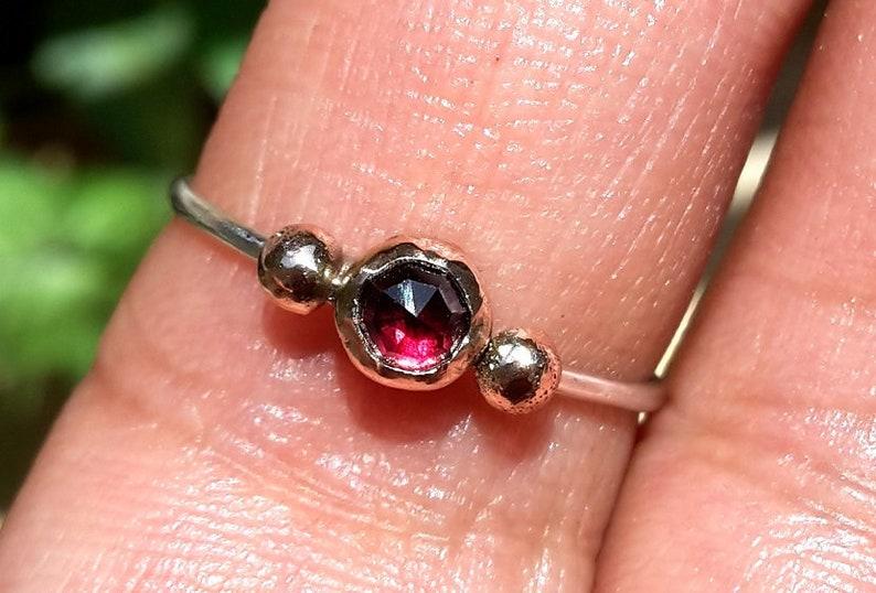 Garnet Gold Ring-Red Ring. Rose Cut Ring Stacking Garnet Ring SOLID 14k and 9k Rose Gold Ring-Gold and Silver Ring Red Wine Garnet Ring