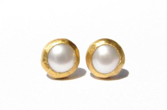 Pearl Gold Studs 24k Solid Gold Earrings Post Earrings Stone Etsy