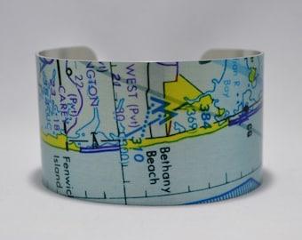Bethany Beach Delaware Aeronautical Map Cuff Bracelet