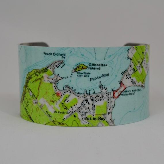 Put In Bay Ohio Lake Erie Map Cuff Bracelet Etsy
