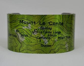Smoky Mountains National Park Mount Le Conte  Map Cuff Bracelet