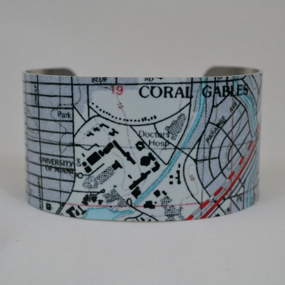 Coral Gables Florida University Of Miami Map Cuff Bracelet Etsy