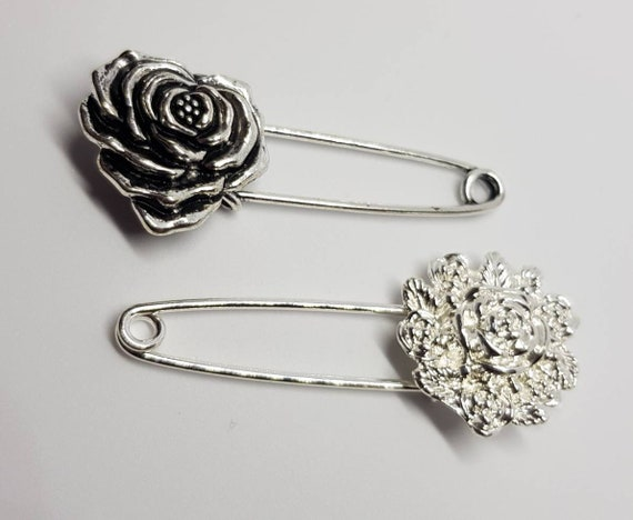 7dc45cff42f8d Floral Safety Pin Brooch silver tone rose Kilt Scarf Pin #safetypin I am  safe I am here I love You flower hijab pin bling antiques
