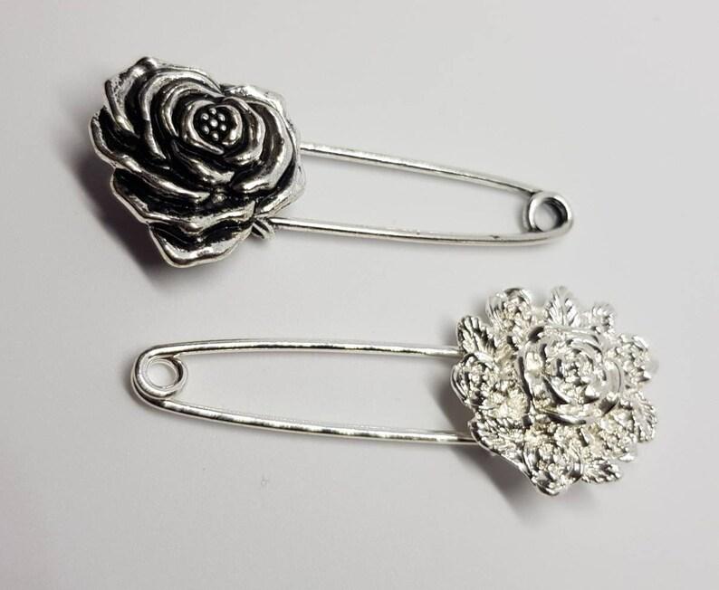 Silver Tone Rhinestone diamante Beads Metal Safety Kilt Pin Scarf Shawl Brooch