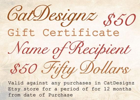 gift voucher certificate card last minute gift 50 dollars etsy