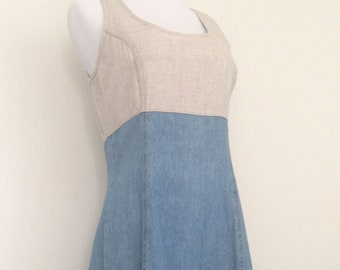 Vintage NY Linen and Denim Sleeveless Dress, SALE was 28.00