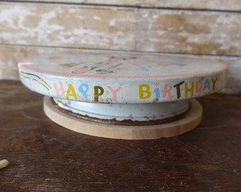 Vintage Happy Birthday Metal Cake Stand