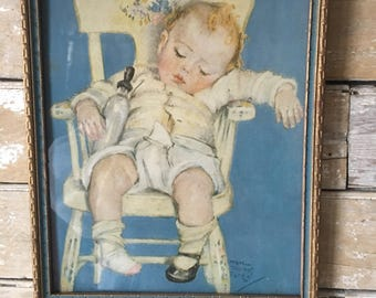 Vintage Child Picture With Original Frame 1930's