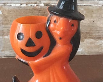 Vintage Halloween Candy Container Witch Pumpkin