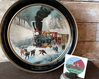 Vintage Cookie Tin Large Train In Winter Currier and Ives