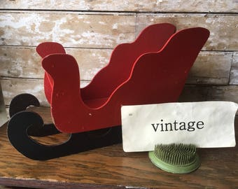 Vintage Shabby Chic Red Sled or Sleigh Handmade Wooden