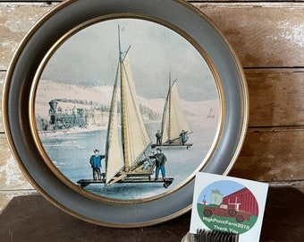 Vintage Cookie Tin Large Sailing  Boats Currier and Ives