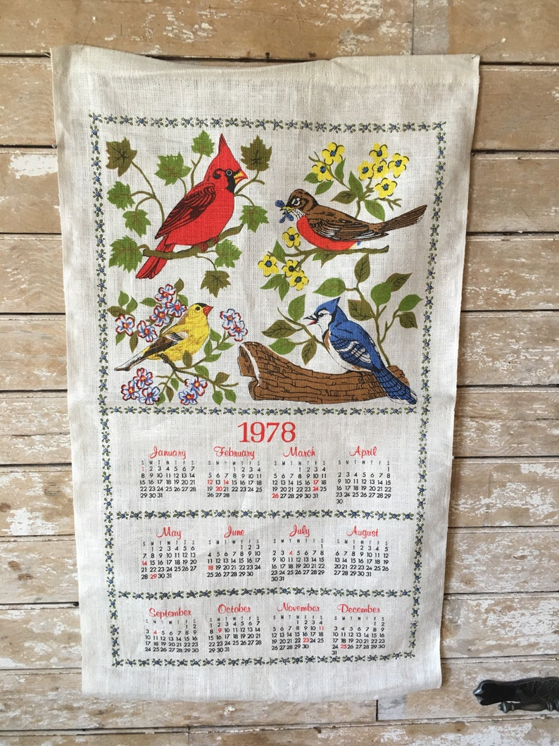 1978 Calendar September.Vintage 1978 Linen Calendar Wall Hanging Birds