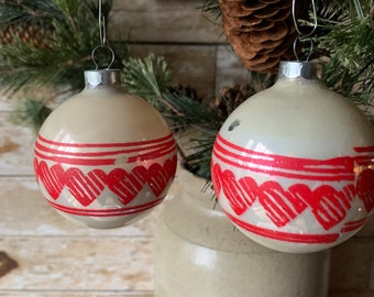 Vintage Christmas Glass Round Heart Decor Ornaments 1950s Set of 2