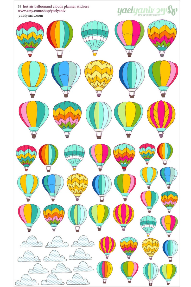 58 hot air balloon Planner Stickers Perfect for Erin Condren image 0