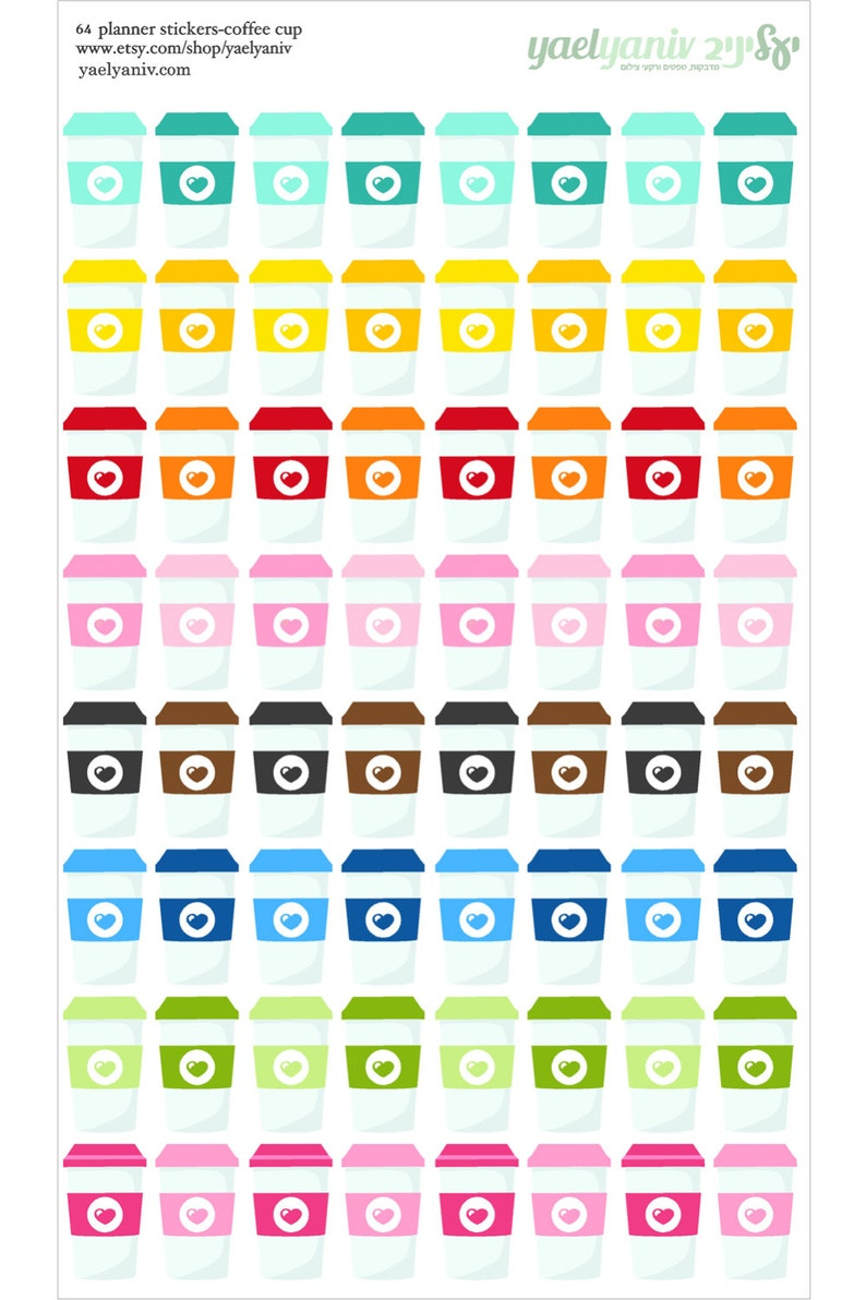 64 coffee cup Planner Stickers Perfect for Erin Condren image 0