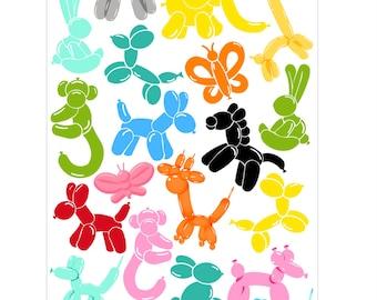 animal balloon  stickers