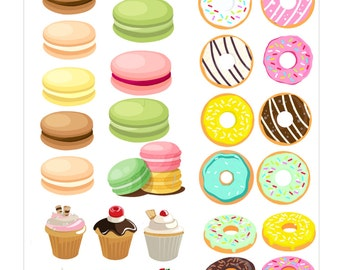 38 dessert Planner Stickers, macarons donut cupcake, Perfect for Erin Condren, Limelife, Plum Paper, the happy planner or Filofax Planner