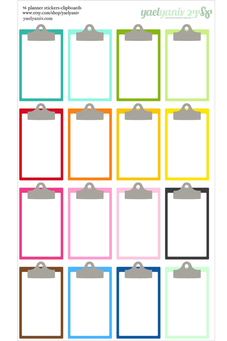 clipboard stickers for life planner vertical for Erin Condren image 0