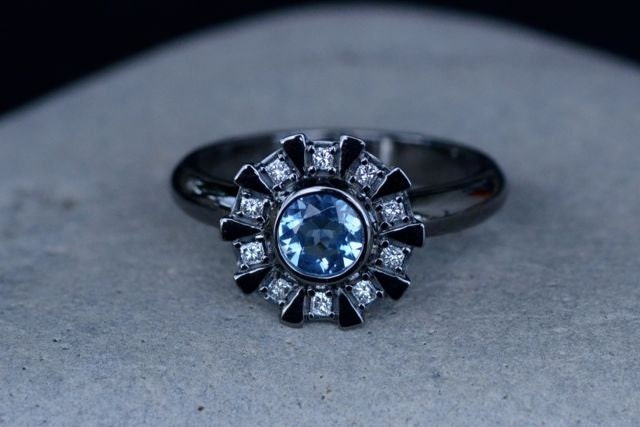 Arc Reactor Inspired Engagement Ring 14K White Gold Black or