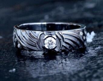 Mass Effect Game, Paragon, Renegade Inspired Engagement Ring, 14K Black Rhodium & 11Diamonds Custom Made To Order