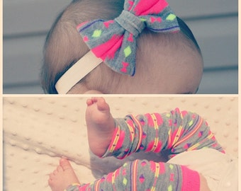 Baby Legwarmers WITH Matching Bow - Neon Pink Purple Yellow Hipster Tribal Aztec - Girl - Matching Set