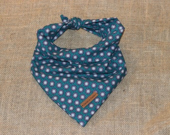 "The ""Maggie"" Dog Bandana- Teal Sunburst Cotton Bandana"
