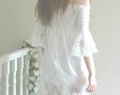 Shirred Lace Handmade Alternative Beach Reception Wedding Dress