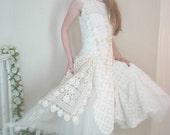 Vintage Crochet  - Handmade Alternative Bridal Gown - Nathalie Alternative Wedding Dress