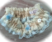 Victoriana Bridal Wedding Garter Vintage Lace, Buttons and Bows