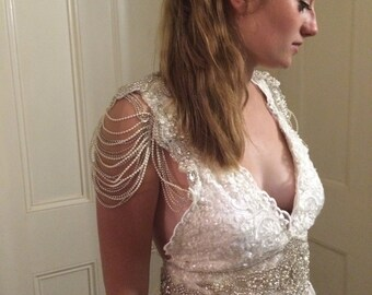 Wedding Gown - Handmade 'Zoe' Beaded Lace Crystal & Pearl Vintage Style Reception