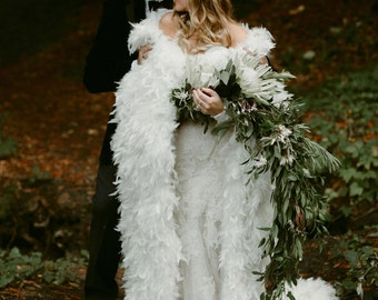 Chandelle Feather Full Length Wedding Cape