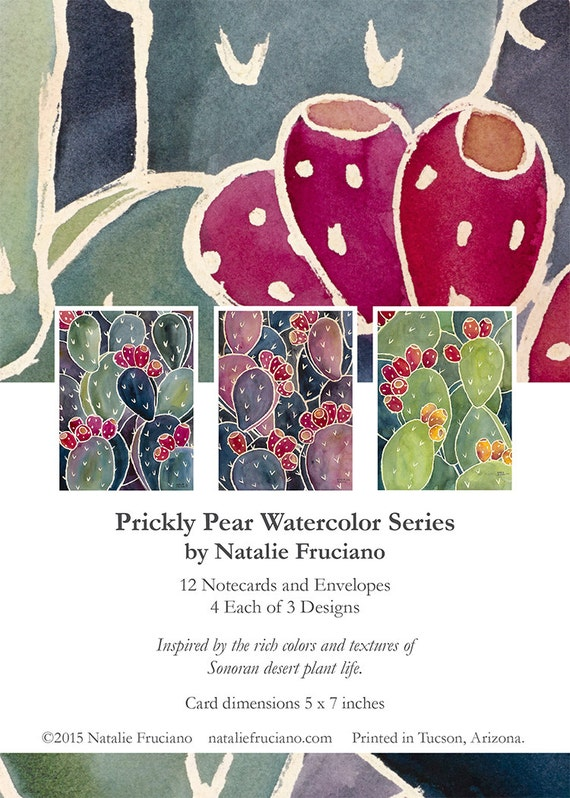Prickly Pear Cactus Blank Note Cards 5 x 7 Inches A7 Set of 12 with Envelopes