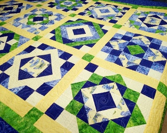 Hydrangea Blooms and Butterflies Queen Size Sampler Handmade Patchwork Reversible Quilt