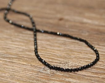 Dainty Black Spinel Necklace, Black Spinel Jewelry, Minimalist, Beaded, Stacking, Layering Necklace