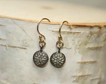 Pave Diamond Disc Earrings, Genuine Diamonds, Diamond Jewelry, Gold Filled, Sterling Silver or Rose Gold