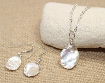Keishi Pearl Necklace & Earrings Set, Keshi, Freshwater Pearl Pendant, Keishi Jewelry, Sterling Silver, Bridesmaid, Wedding, Pearl Jewelry