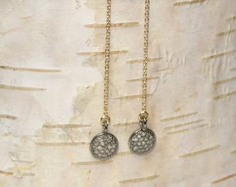 Pave Diamond Disc Earrings, Ear Threaders, Genuine Diamonds, Chain, Dangle Earrings, Gold Filled or Sterling Silver, April Birthstone
