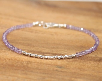 Pink Amethyst Bracelet, Hill Tribe Silver Beads, Fine Silver, Pink Amethyst Jewelry, Layering, Minimalist