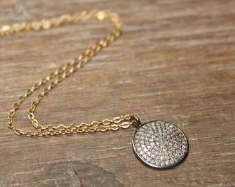 Pave Diamond Sterling Silver Disc Necklace, Mixed Metals, Gold Filled, Rose Gold Filled, Oxidized Sterling Silver, Genuine Diamonds,