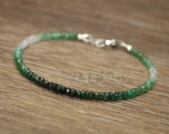 Emerald Ombre Bracelet, Shaded Emerald, Emerald Jewelry, May Birthstone. Gemstone Bracelet