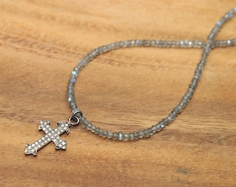 Pave Diamond Cross Necklace, Diamond Cross Pendant, Sterling Silver, Genuine Diamond Jewelry